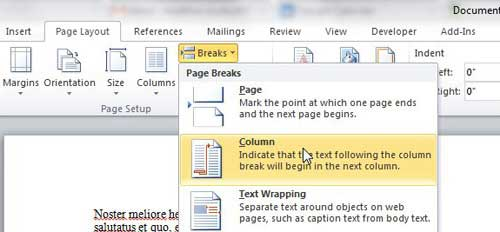 word table document how to move a column