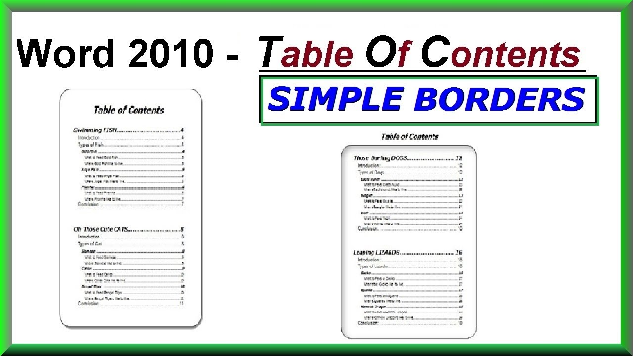 word document table of contents template
