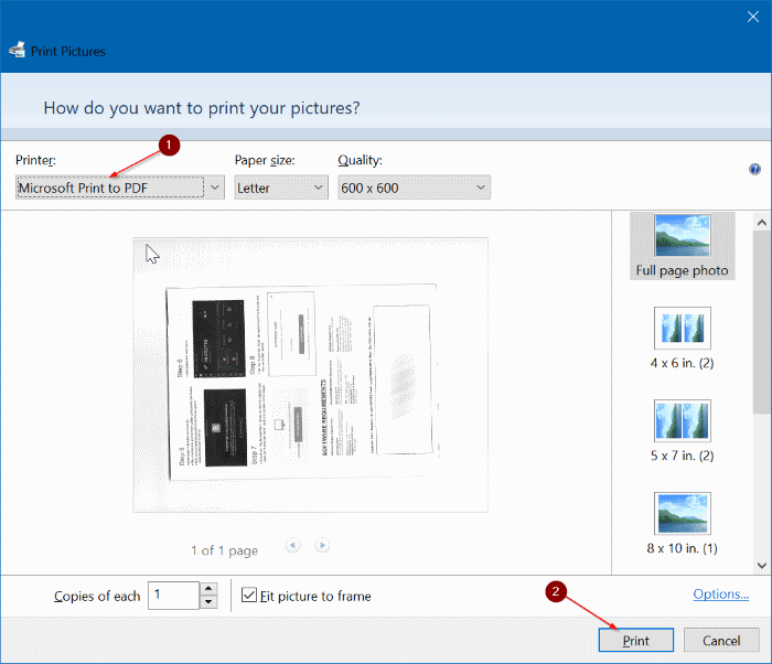 scan a document in windows 10