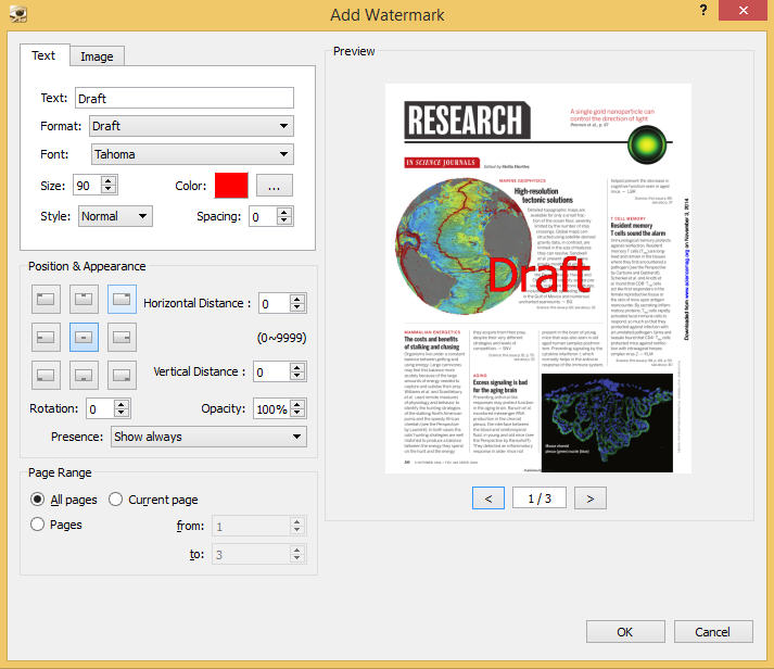 convert document to pdf with watermark