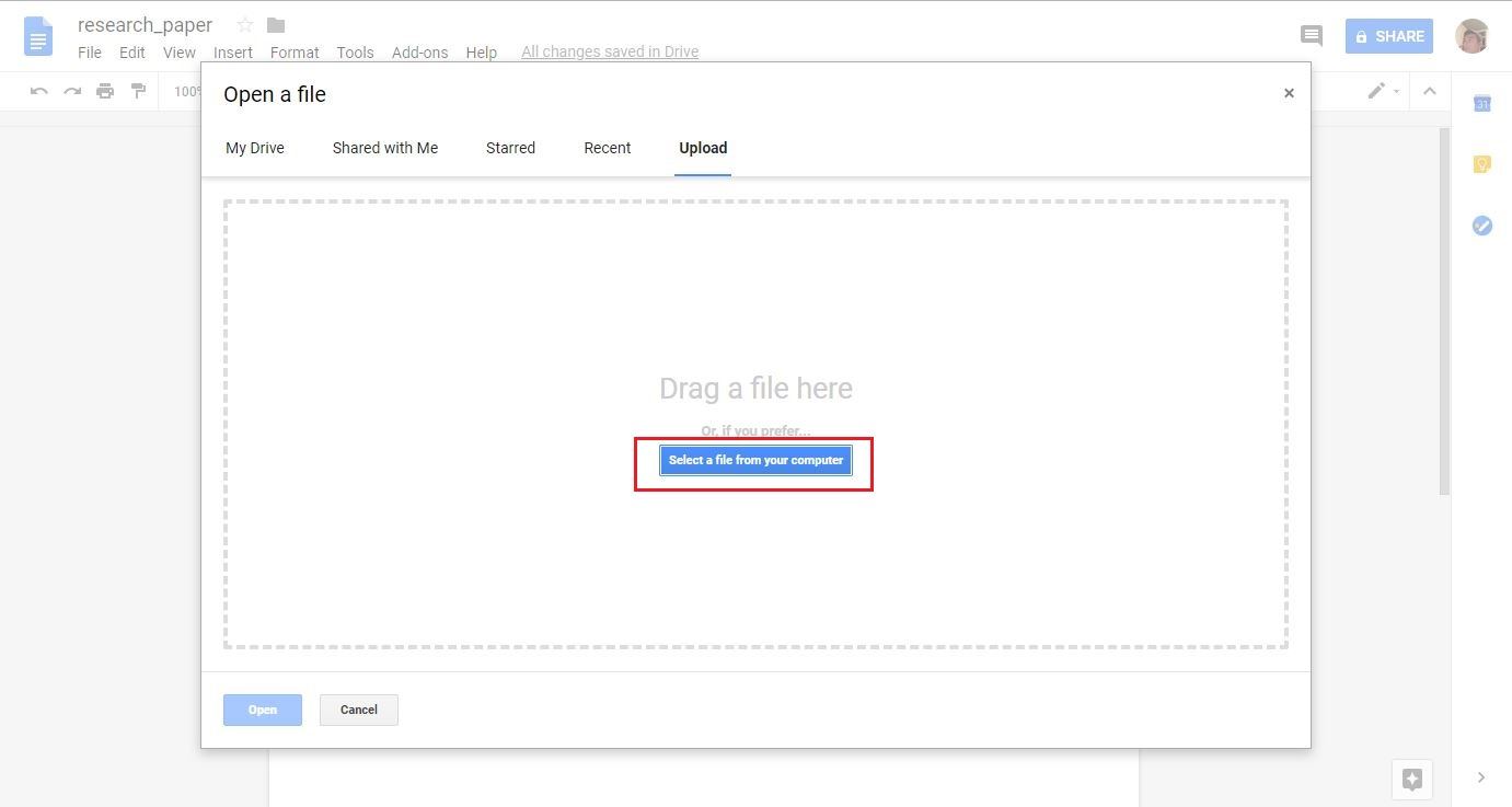 can you import a word document into google docs