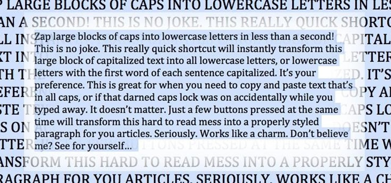 how to lowercase word document