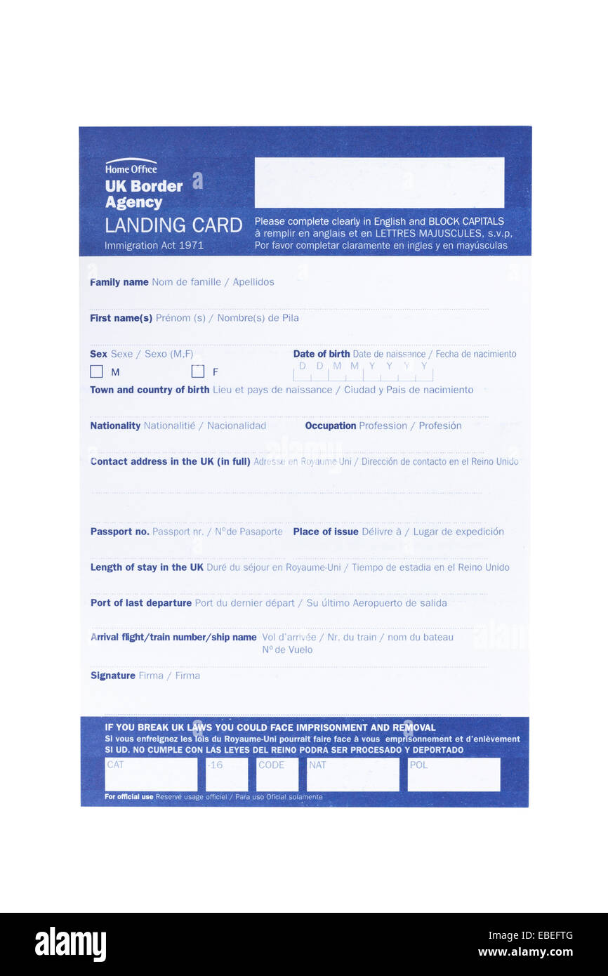 white document to fill in incoming fligh to canada