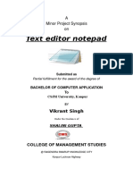 text editor project report documentation