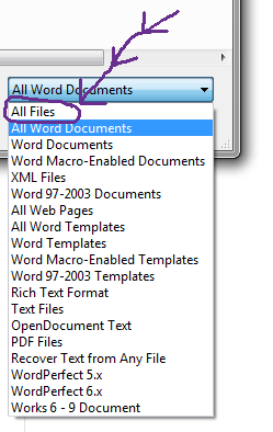 word to open wordperfect document