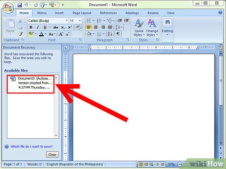 document recovery task pane word 2007