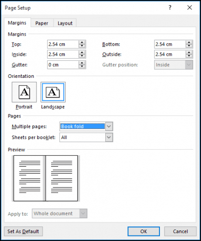 microsoft word pages for typing a document