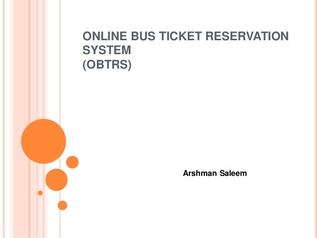 online ticket reservation system documentation