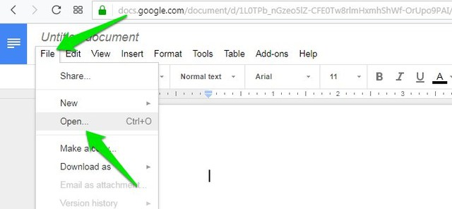 how to insert word document into google docs