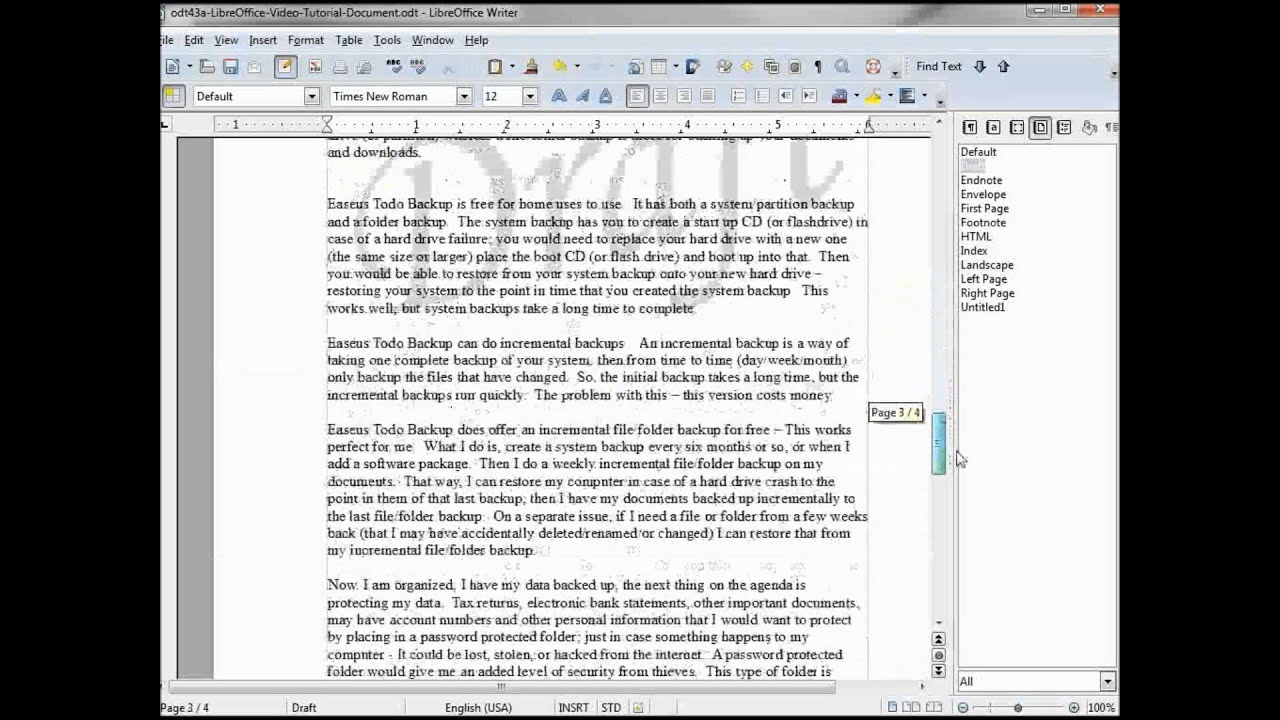 add a watermark to a libre open office document