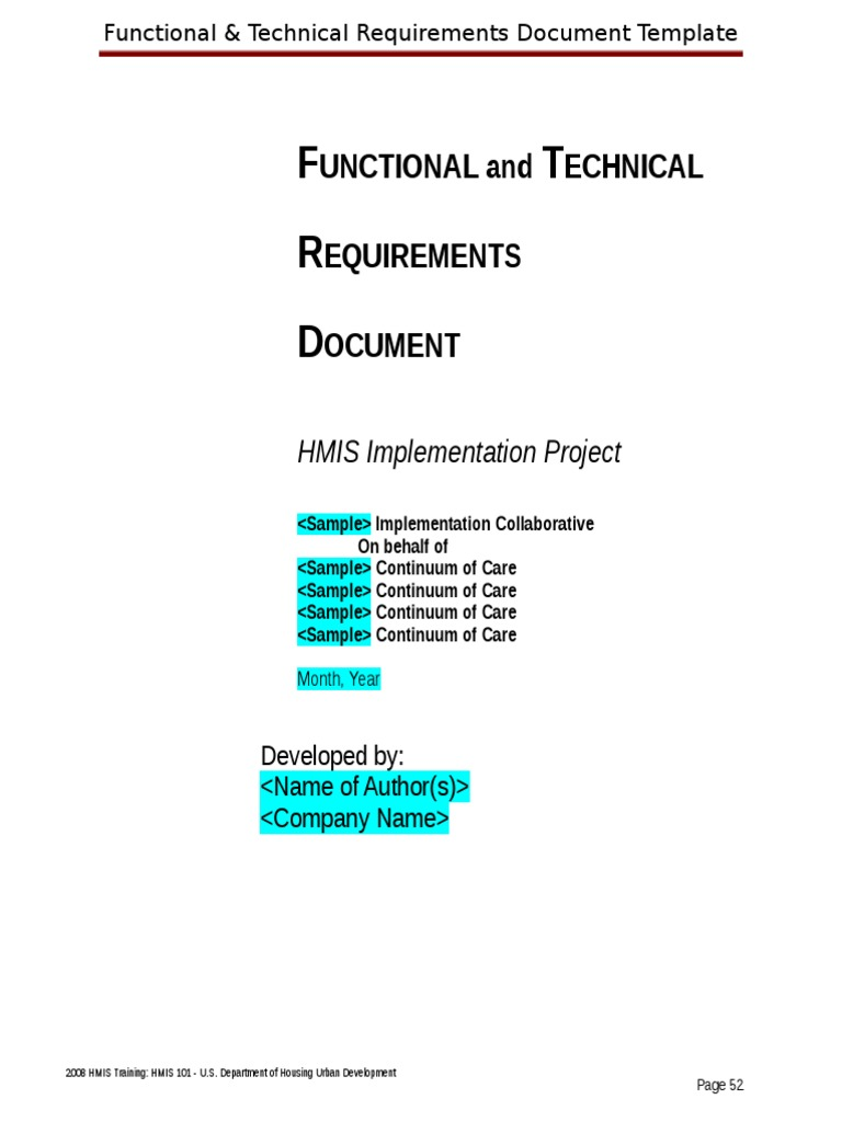 technical functional requirements document template