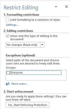 how to lock word document from editing