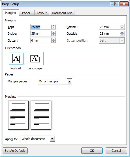 word different page margins within document