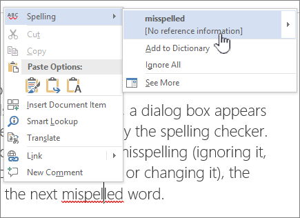 turn off spell check for one word document