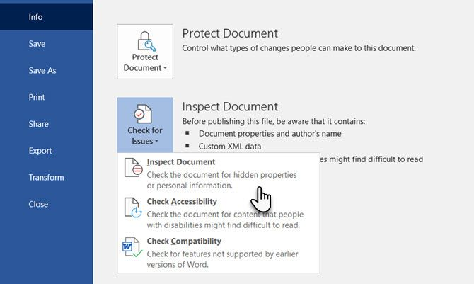 the document inspector is useful when you want to