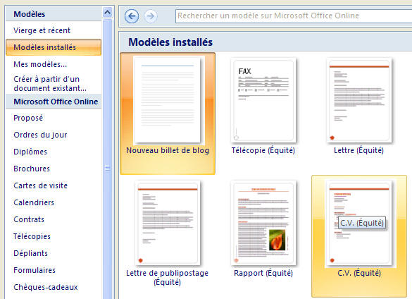 mise en page document word 2007