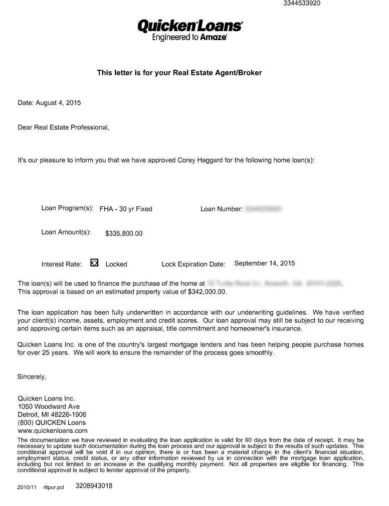 nexus conditional approval notification document