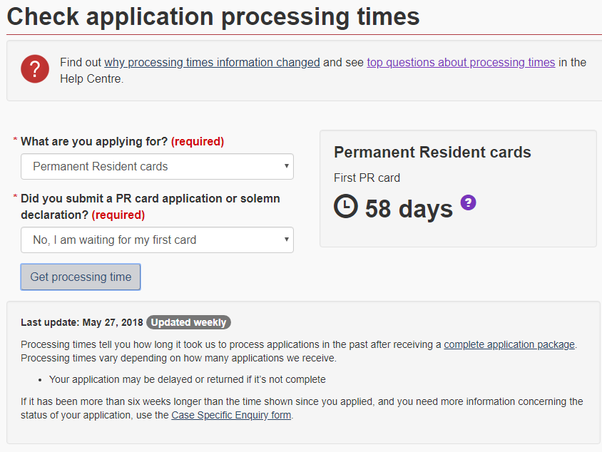 cic processing time permanent resident travel document