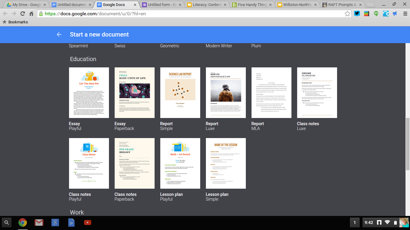 how to create a google document template