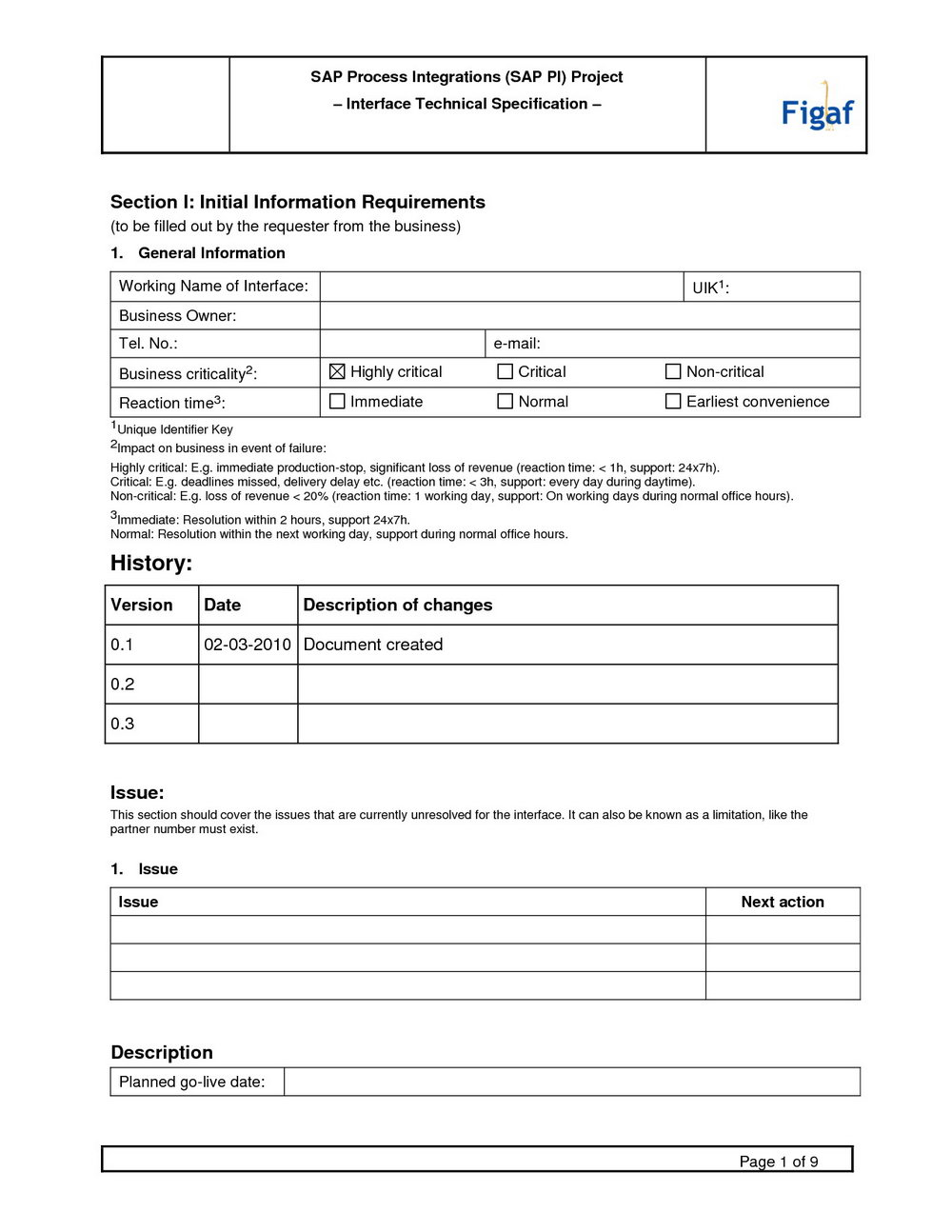 software requirement specification document template