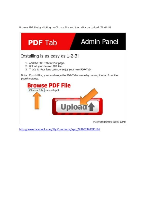 how to add pdf document to a facebook page