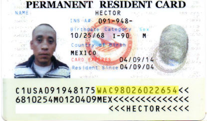 uscis document number on permanent resident card