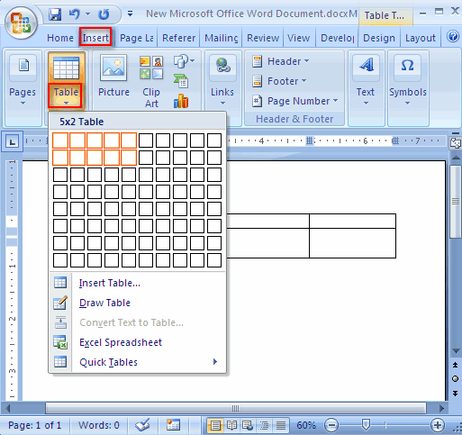 microsoft word document table inside header