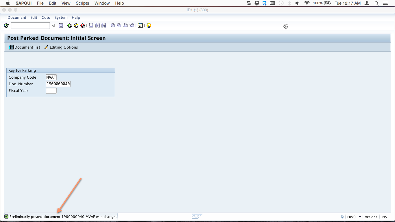 how to post a parked document in sap