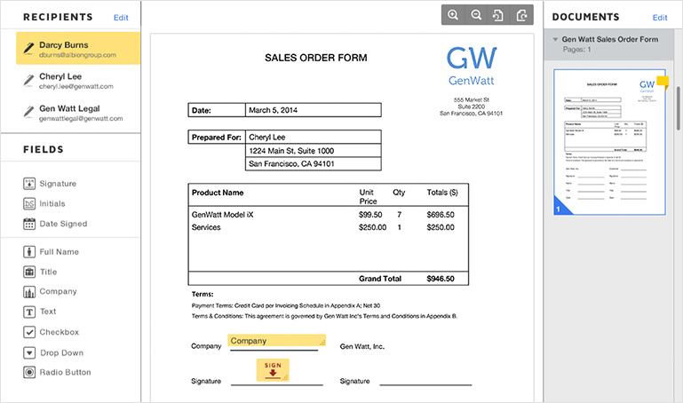 how to indicate signature on electronic document