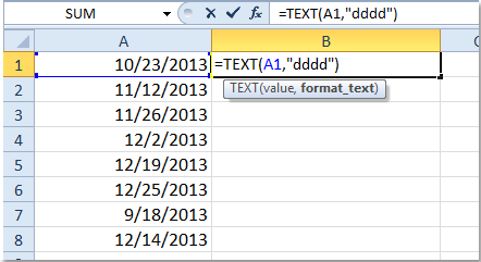 excel change all document the date format