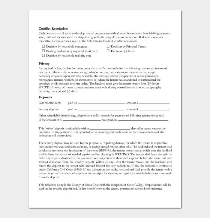 lease form for private room rental word document