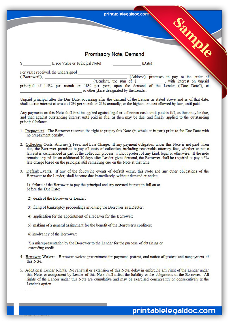 examples of legal document for promise of repayment