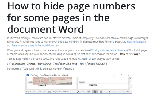 how to page number word document