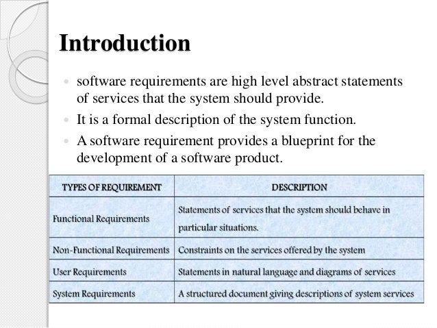 high level software requirements document