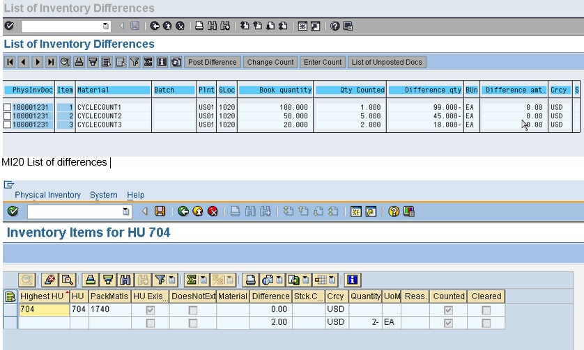 sap create cycle count document tcode