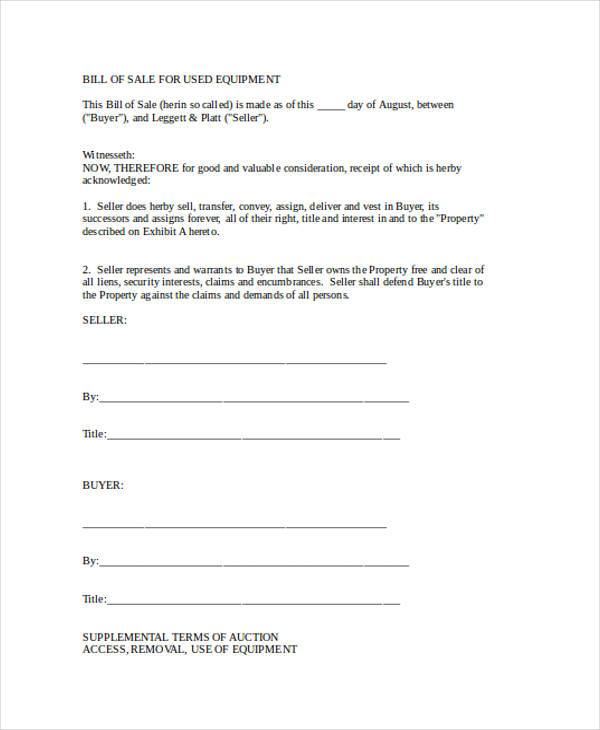 bill of sale document for equipment