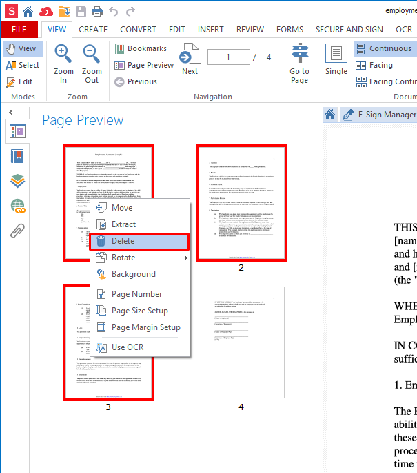 how to delete from pdf document