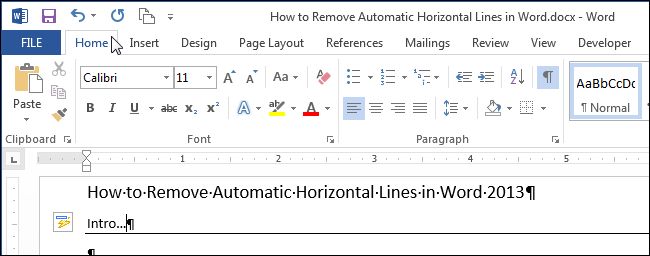 remove black lines out of word document