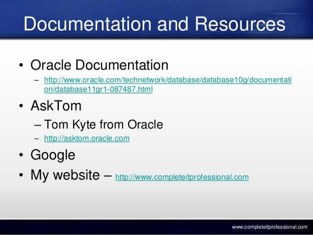 free oracle database documentation tool