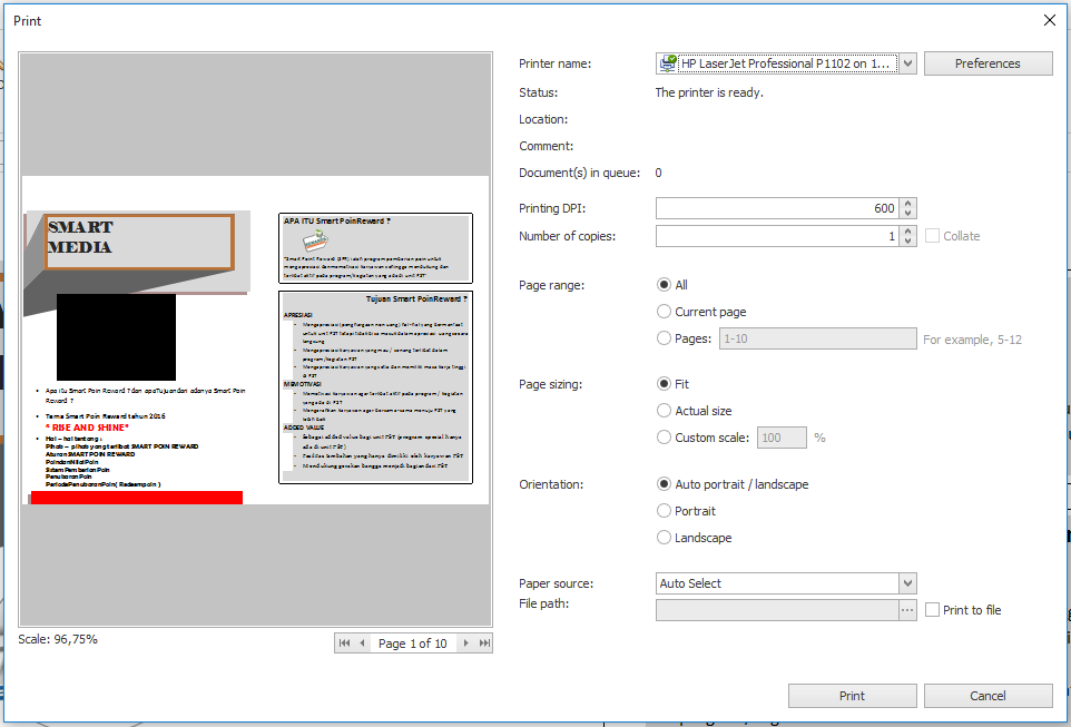 how can i print a protected pdf document