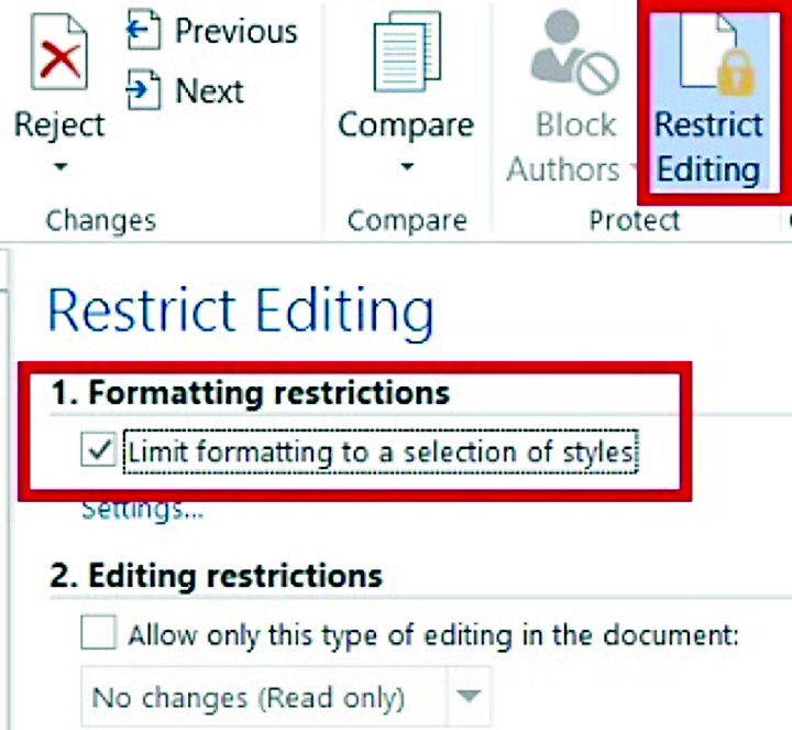 how to prevent editing of word document