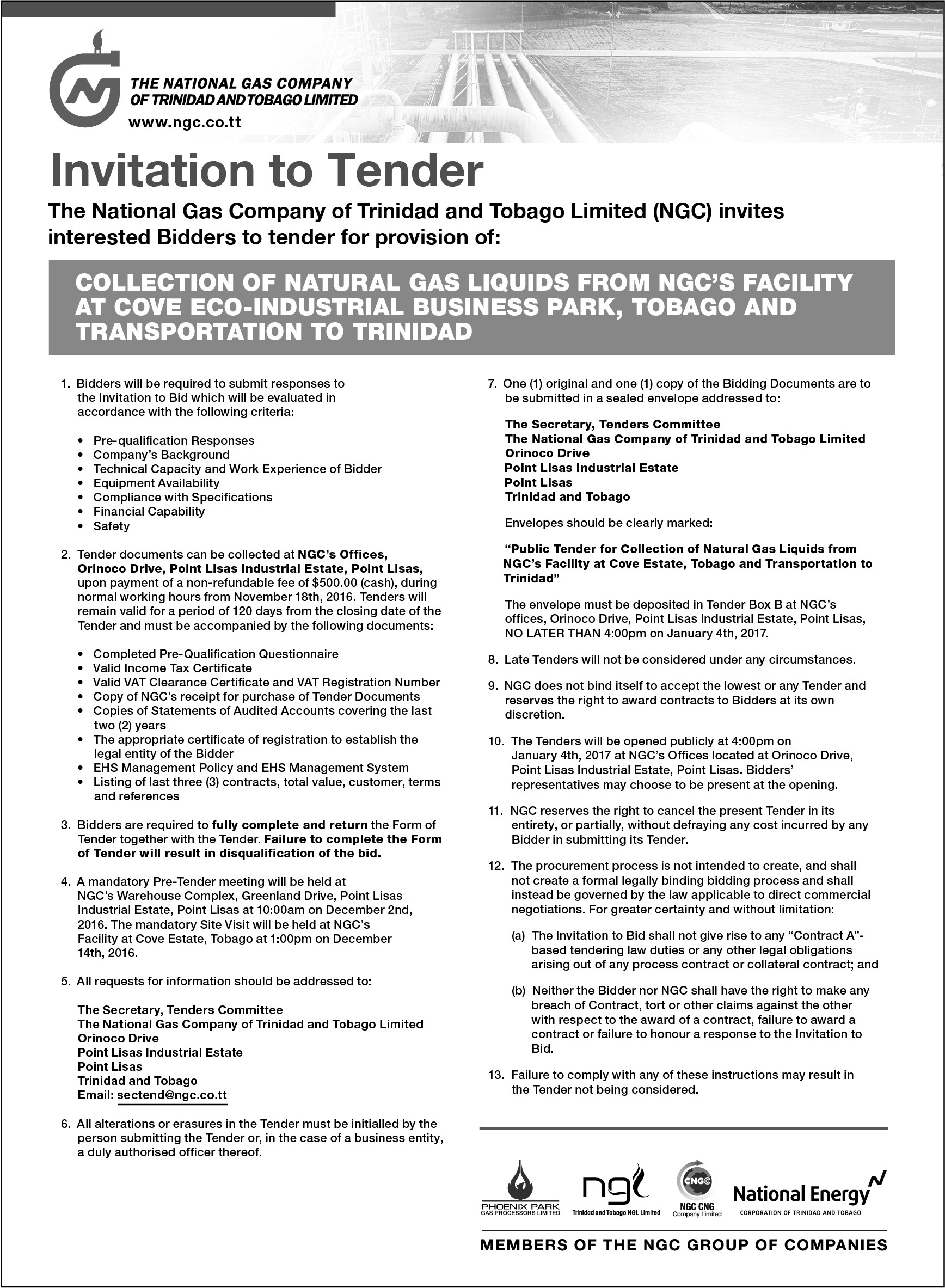 tender document for in-line inspection